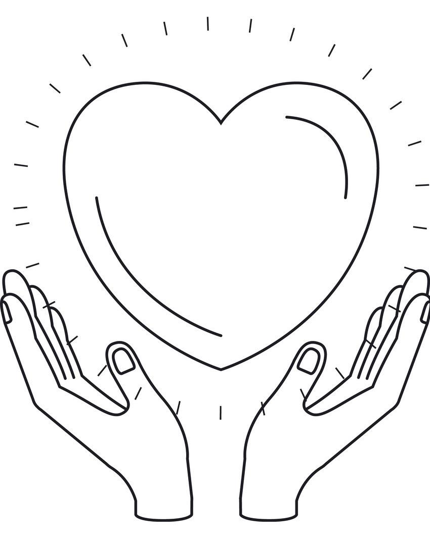 Tranh tô màu bàn tay và trái tim