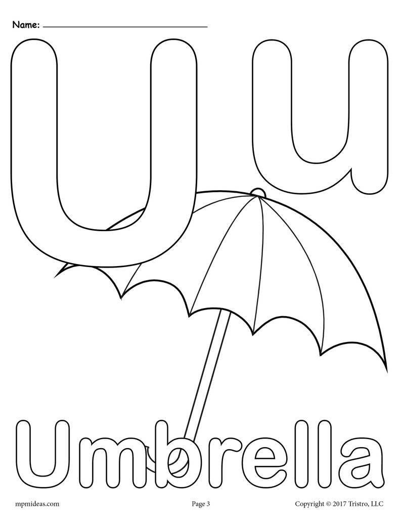 Tranh tô màu bảng chữ cái U cái ô