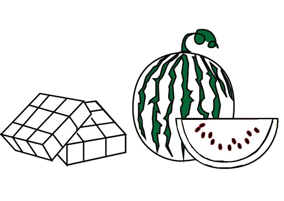 Tranh tô màu bánh chưng dưa hấu ngày tết