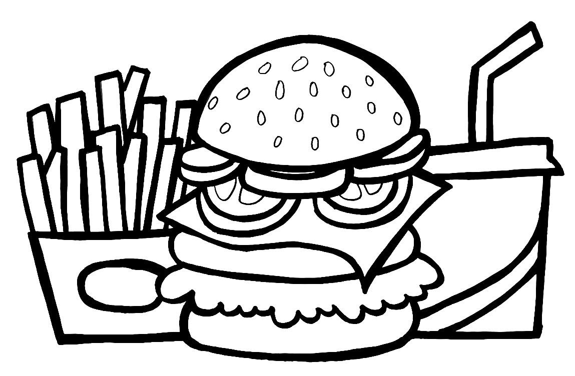 TRanh tô màu bánh humberger đơn giản