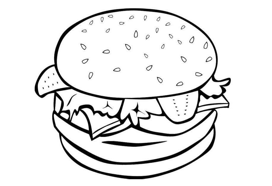 Tranh tô màu bánh humberger