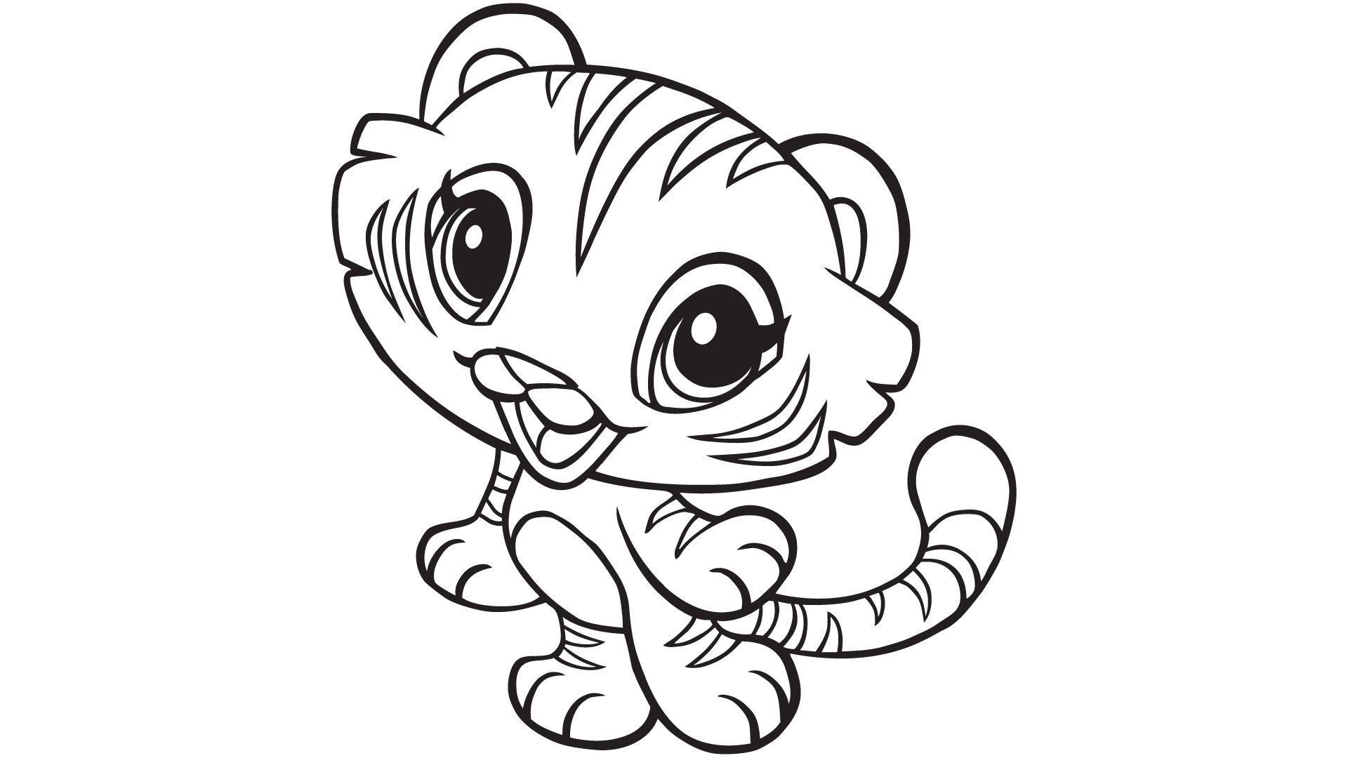 Tranh tô màu bé hổ con nhỏ bé
