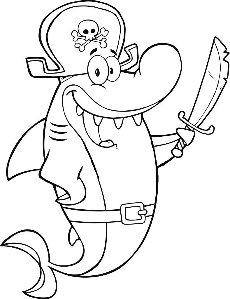 Tranh tô màu cá mập cartoon dễ thương