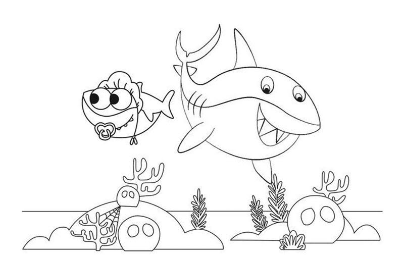 Tranh tô màu cá mập con cute