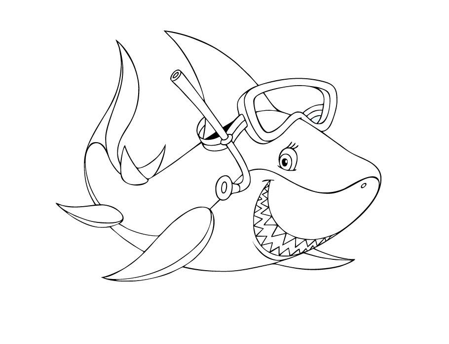 Tranh tô màu cá mập đeo kính lặn
