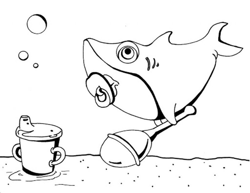 Tranh tô màu cá mập đẹp và độc