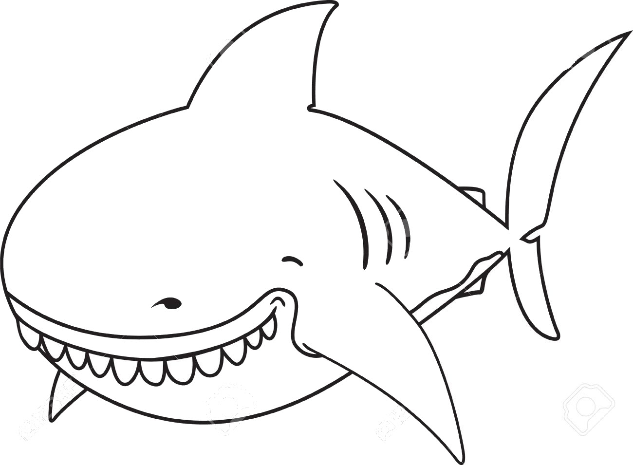Tranh tô màu cá mập ngộ nghĩnh dễ thương
