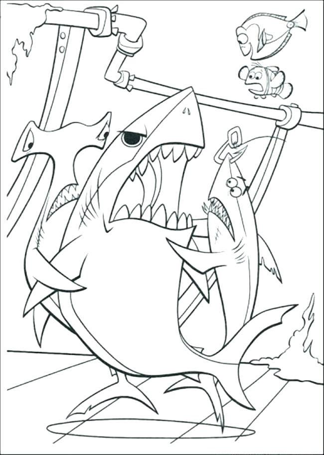 Tranh tô màu cá mập trong finding nemo