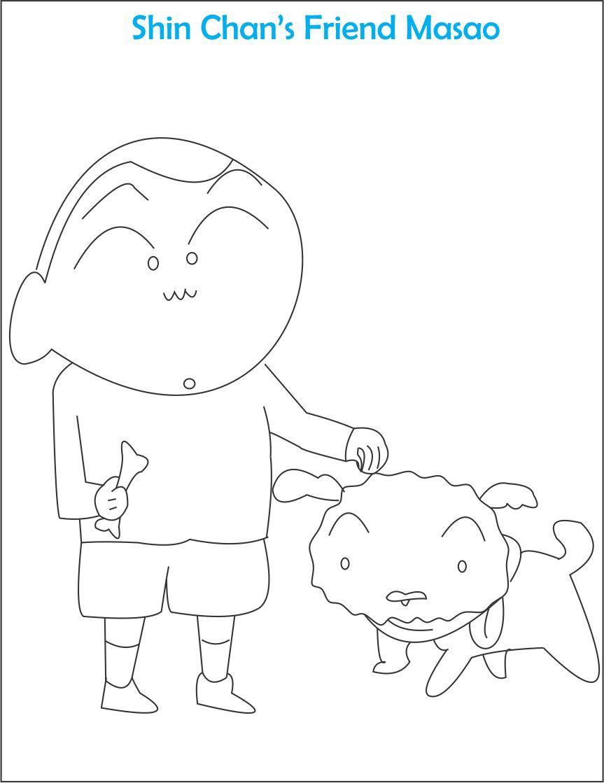 Tranh tô màu cậu bạn của Shin cùng chú chó