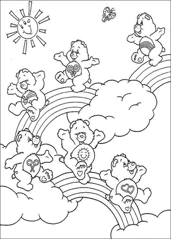 Tranh tô màu cầu vồng và gấu trắng đẹp