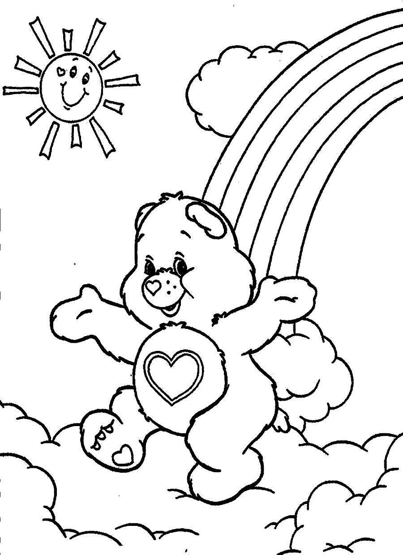 Tranh tô màu cầu vồng và gấu