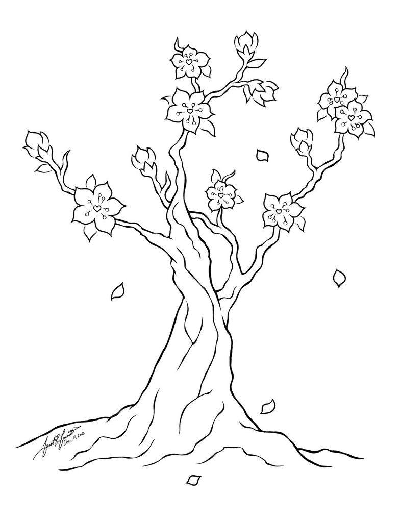 Tranh tô màu cây hoa đào