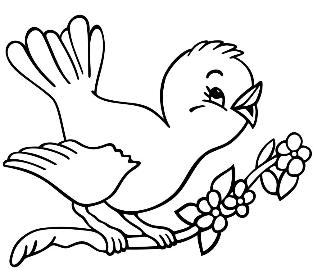 Tranh tô màu chim hót líu lo trên cành cho bé