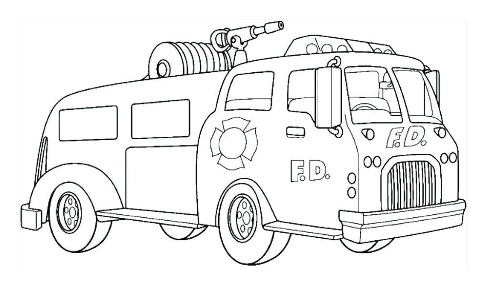 Tranh tô màu cho bé chủ đề xe cứu hỏa