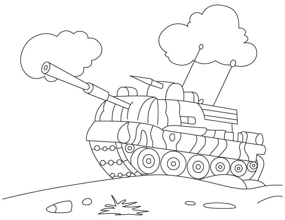 Tranh tô màu cho bé hình xe tăng
