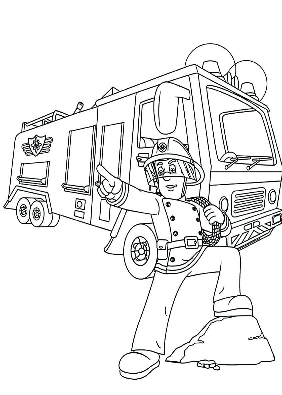Tranh tô màu cho trẻ hình xe cứu hỏa