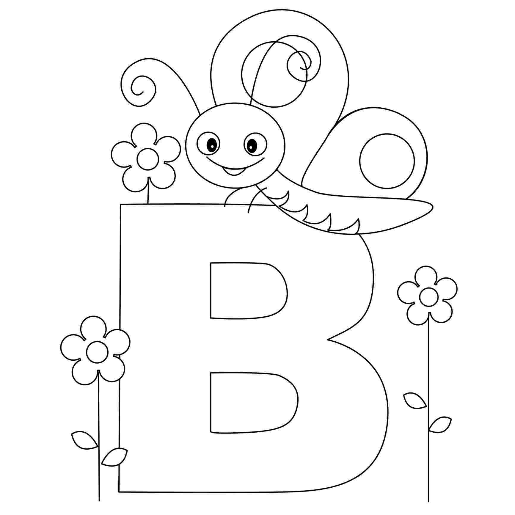 Tranh tô màu chữ cái B con ong