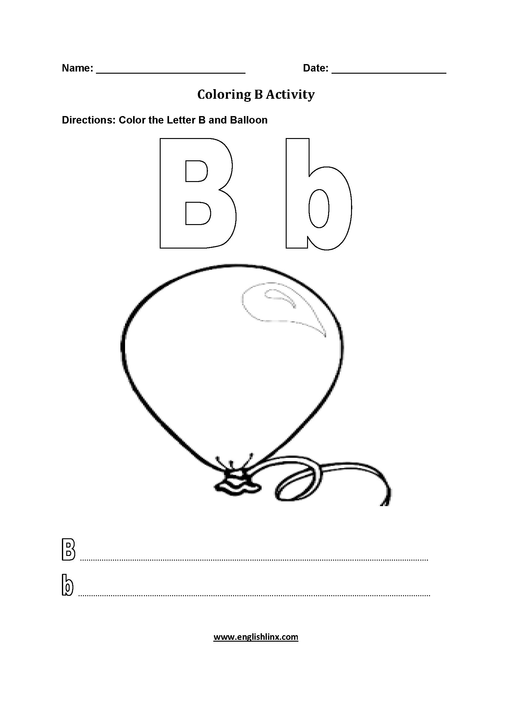 Tranh tô màu chữ cái B quả bóng bay