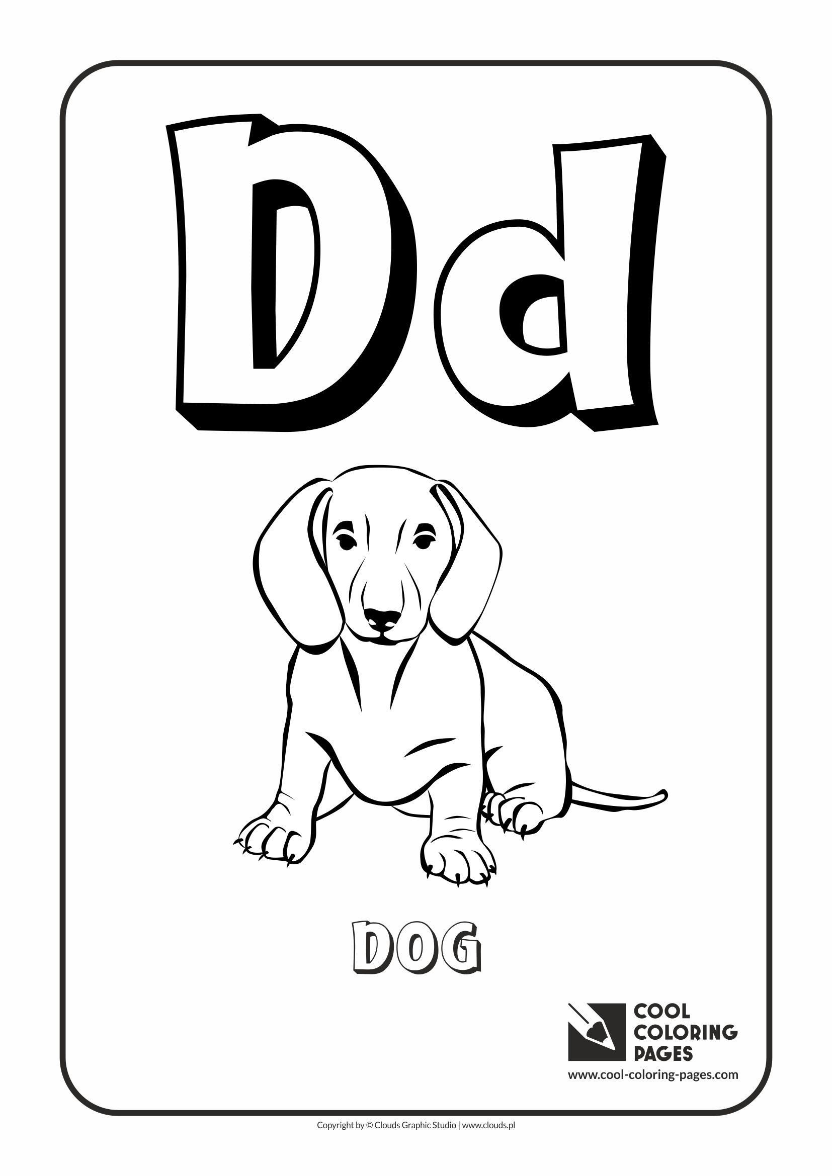 Tranh tô màu chữ cái D con chó