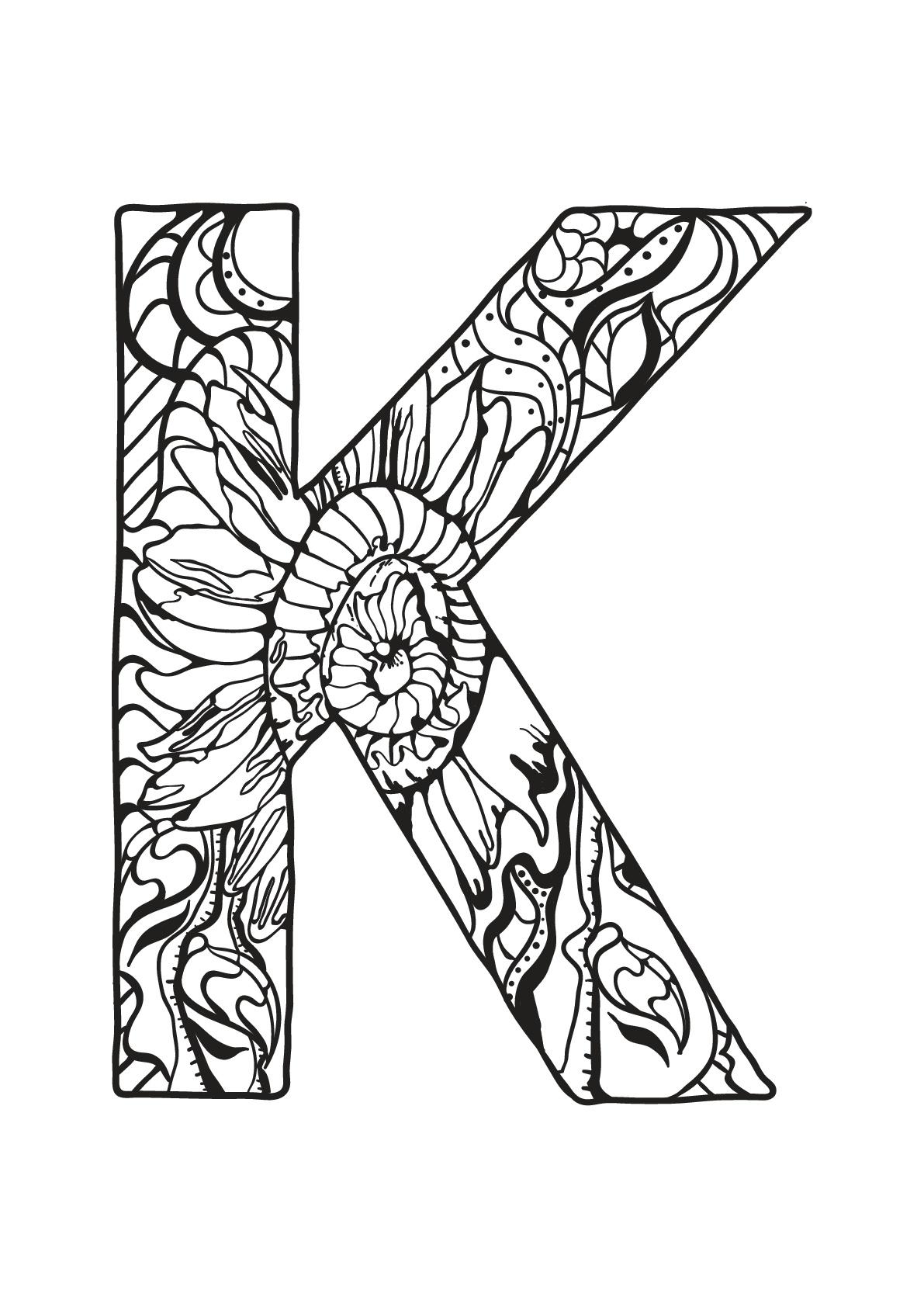 Tranh tô màu chữ cái K hoa văn đẹp