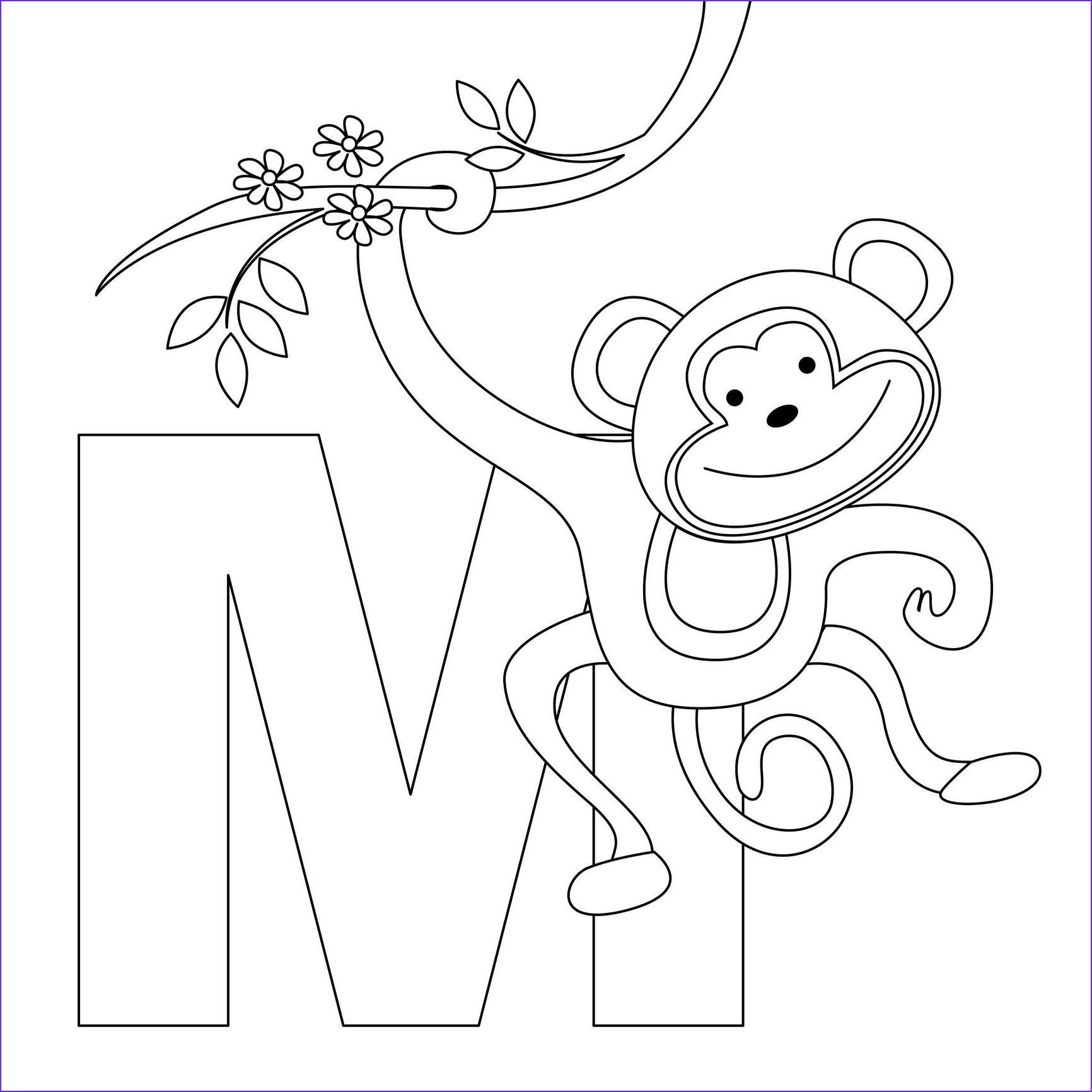 Tranh tô màu chữ cái M monkey