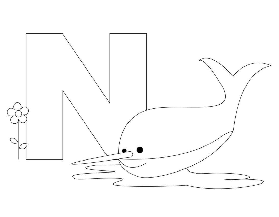 Tranh tô màu chữ cái N con cá