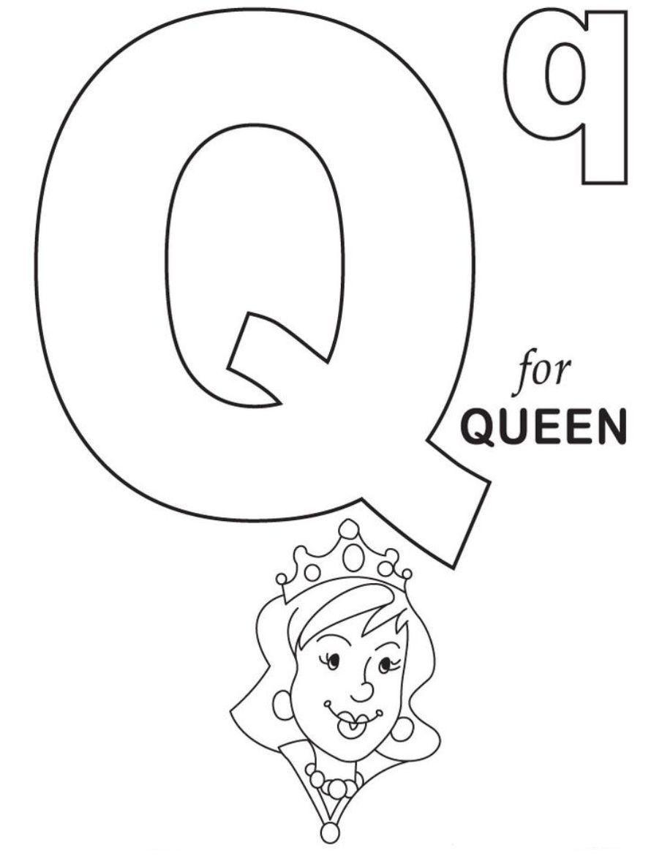 Tranh tô màu chữ cái Q nữ hoàng