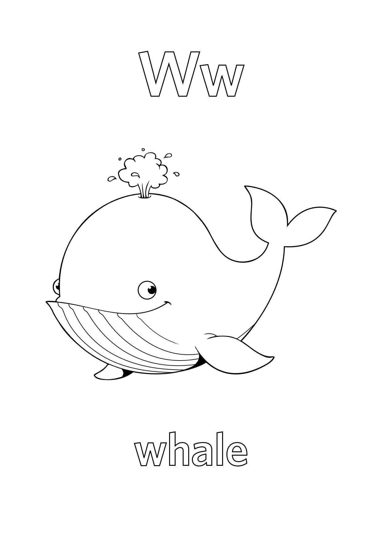 Tranh tô màu chữ cái W con cá  voi