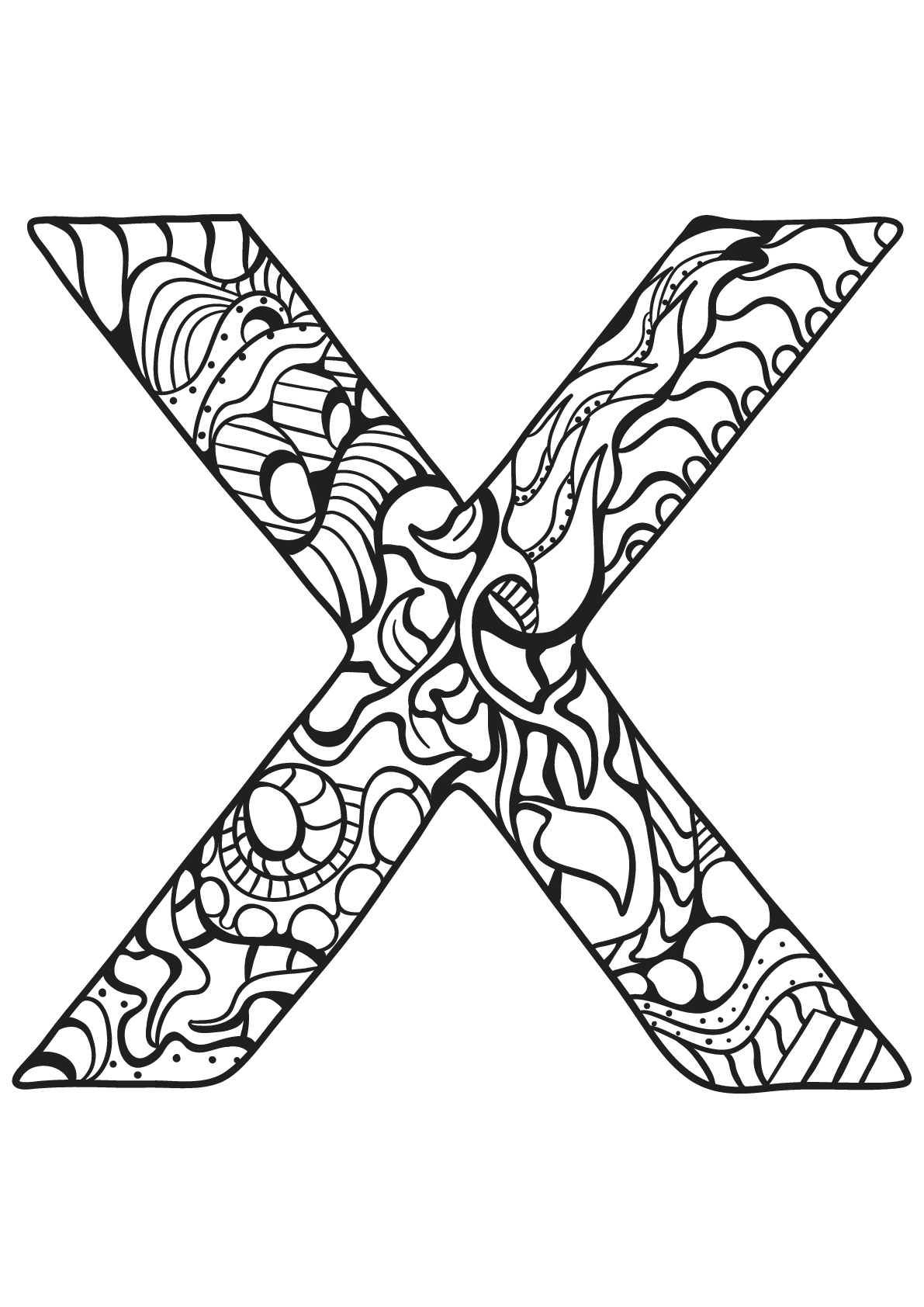 Tranh tô màu chữ cái X hoa lá cành