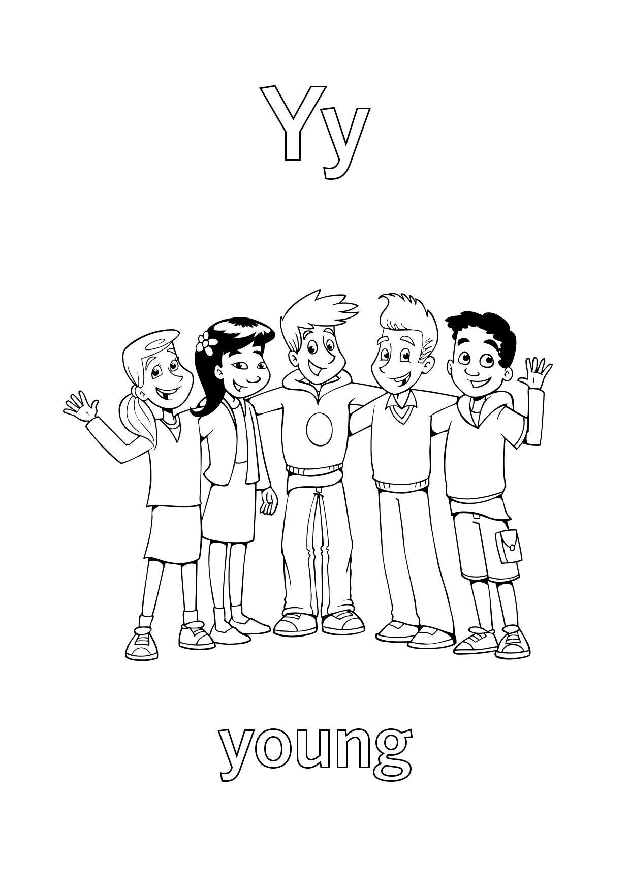 Tranh tô màu chữ cái Y tuổi trẻ