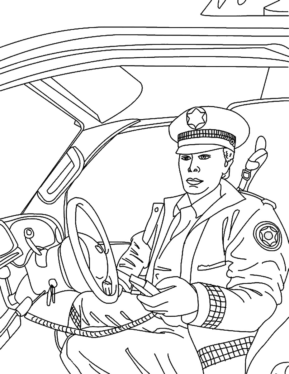 Tranh tô màu chú công an ngồi trong xe cảnh sát