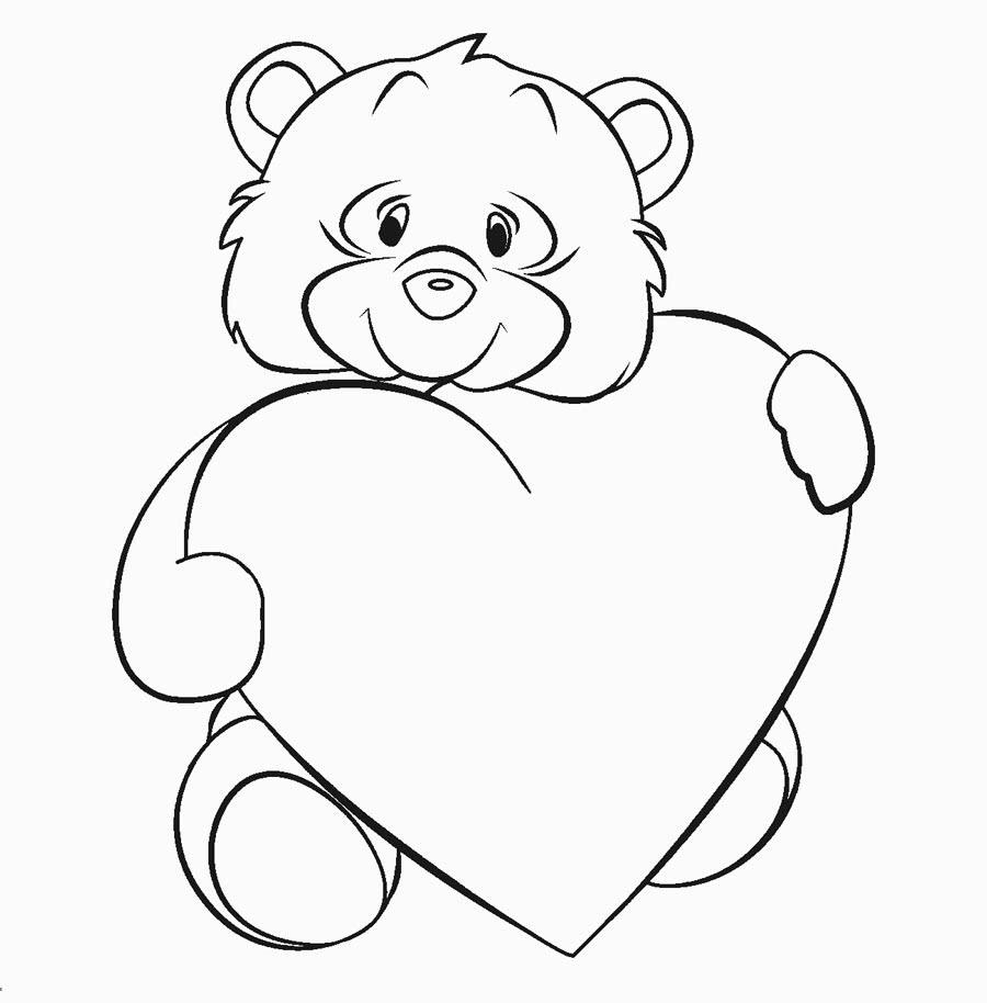 Tranh tô màu chú gấu ôm hình trái tim