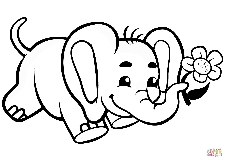 Tranh tô màu chú voi cầm hoa chạy tung tăng