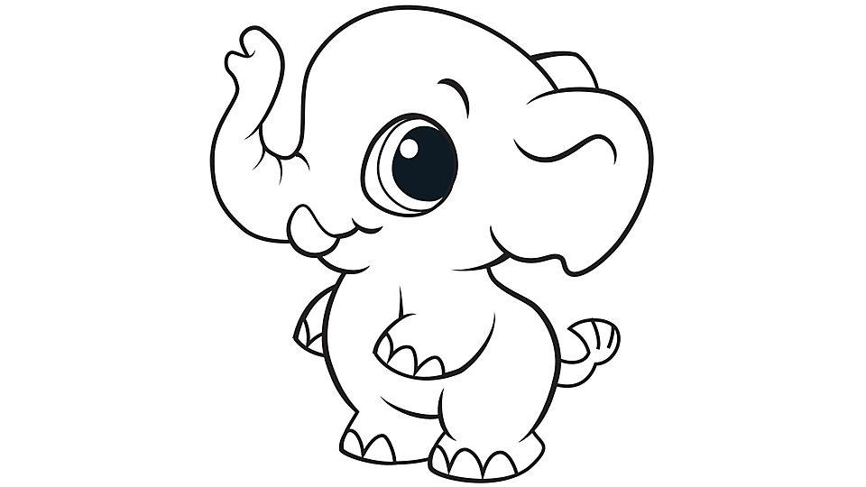 Tranh tô màu chú voi chibi đứng bằng hai chân