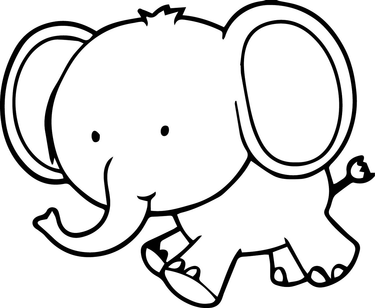 Tranh tô màu chú voi đầu to