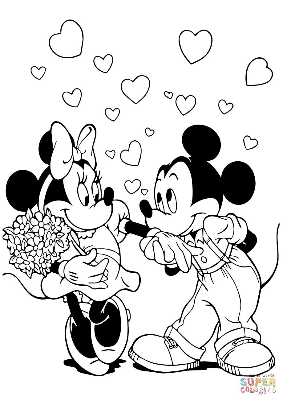 Tranh tô màu chuột Mickey hôn tay bạn gái