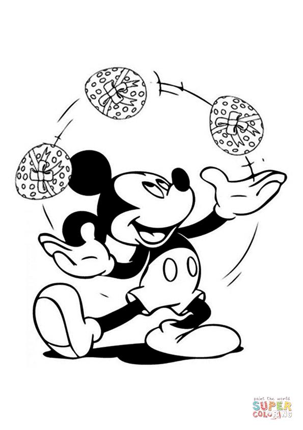 Tranh tô màu chuột Mickey tung hứng quả trứng