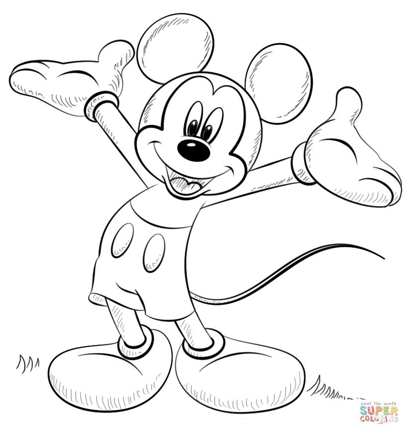 Tranh tô màu chuột Mickey vươn hai tay