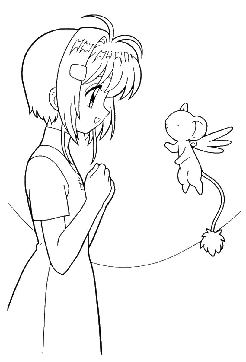 Tranh tô màu cô bé Sakura nói chuyện với bạn mình
