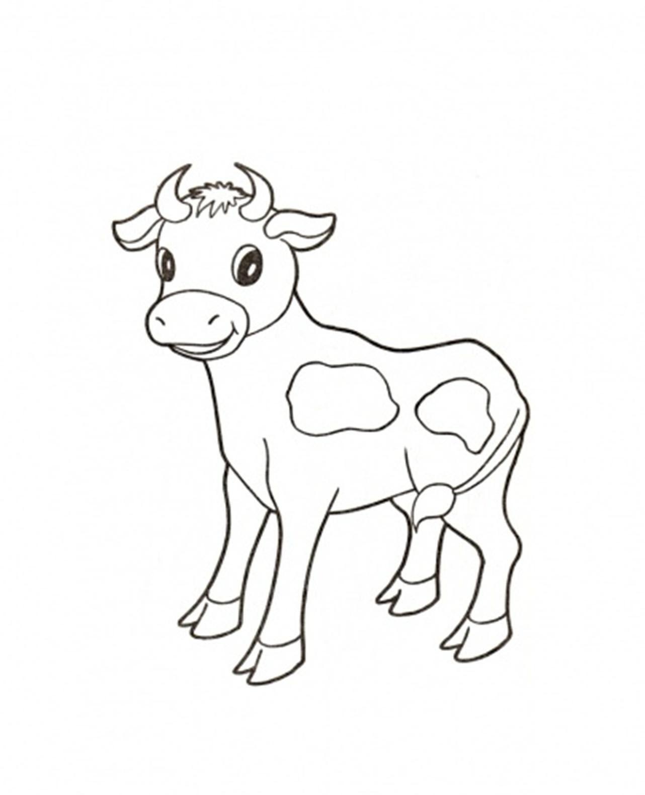 Tranh tô màu con bò bò sữa con đáng yêu