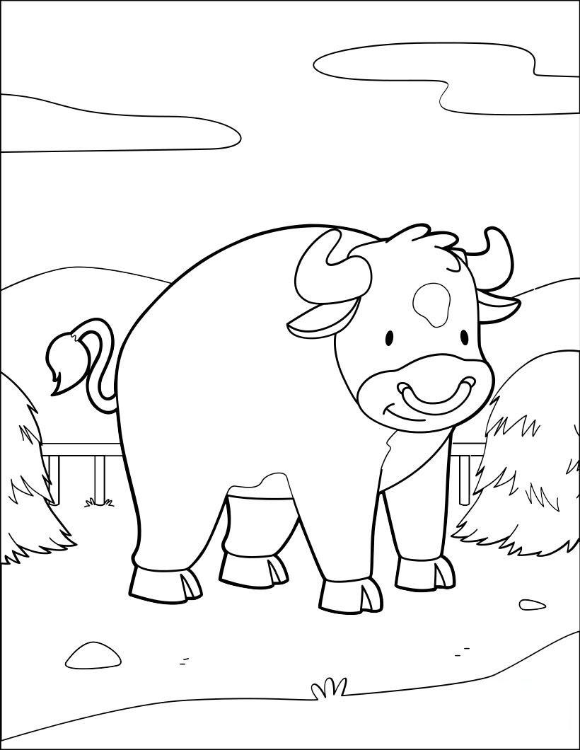 Tranh tô màu con bò con đáng yêu ngộ nghĩnh