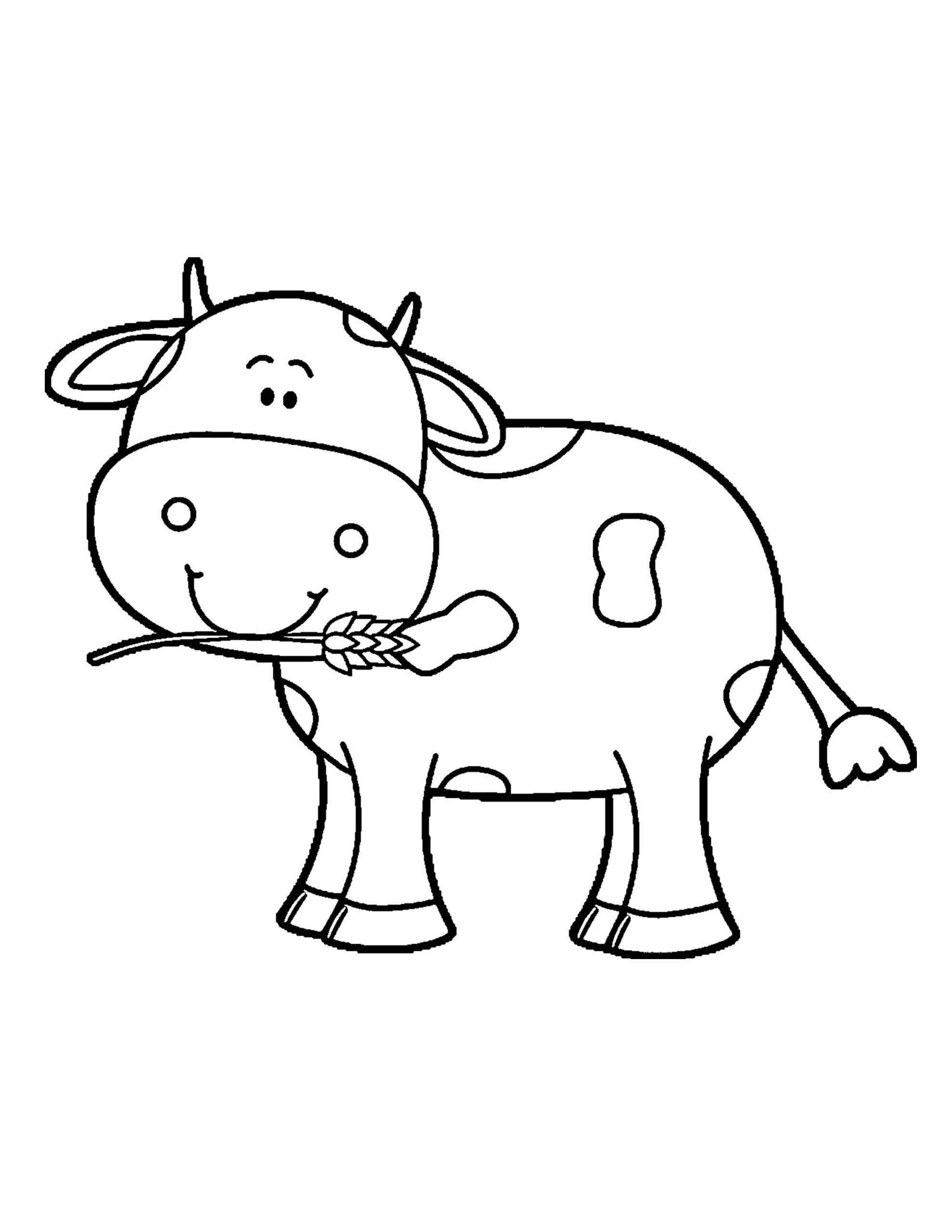 Tranh tô màu con bò con đáng yêu