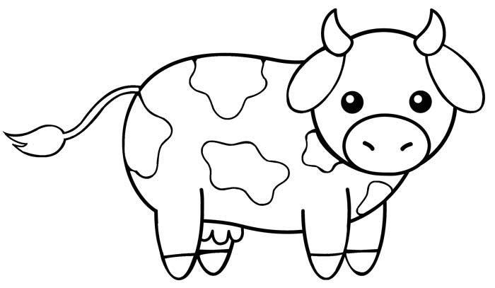 Tranh tô màu con bò đơn giản cực đẹp cho bé