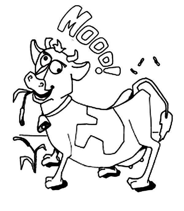 Tranh tô màu con bò đơn giản đẹp nhất