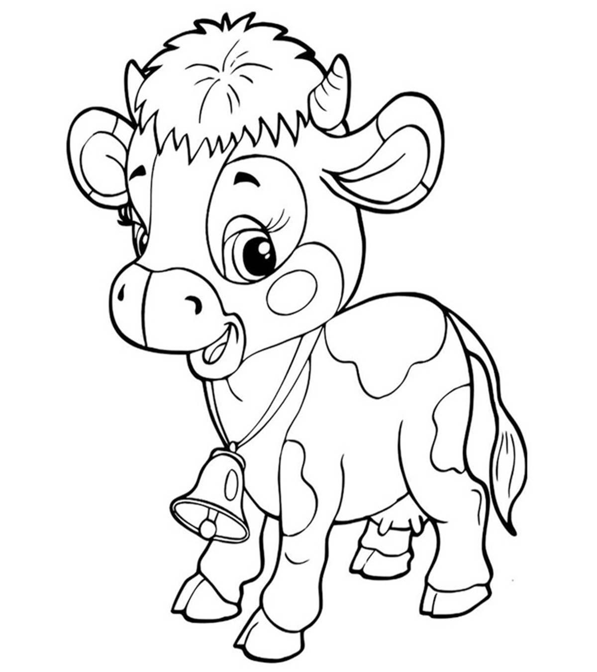 Tranh tô màu con bò sữa con đẹp