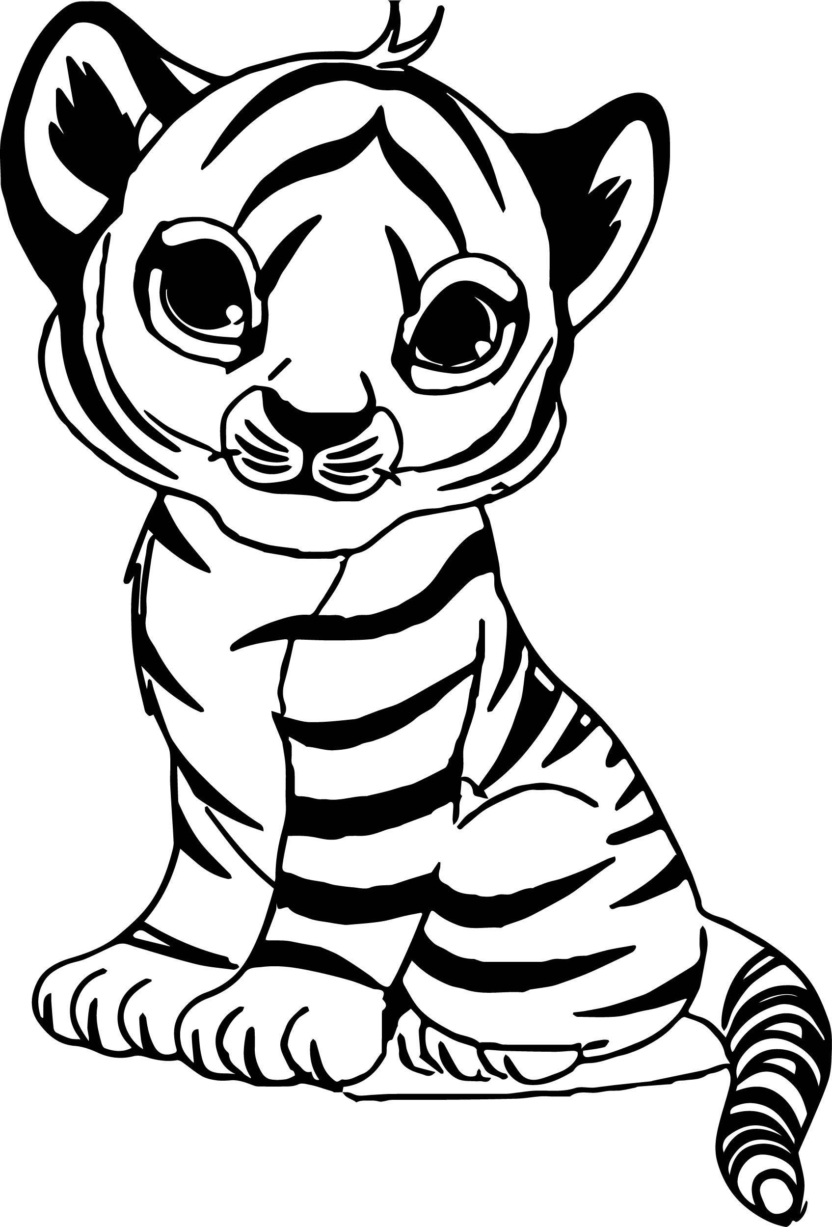 Tranh tô màu con hổ con bé bỏng