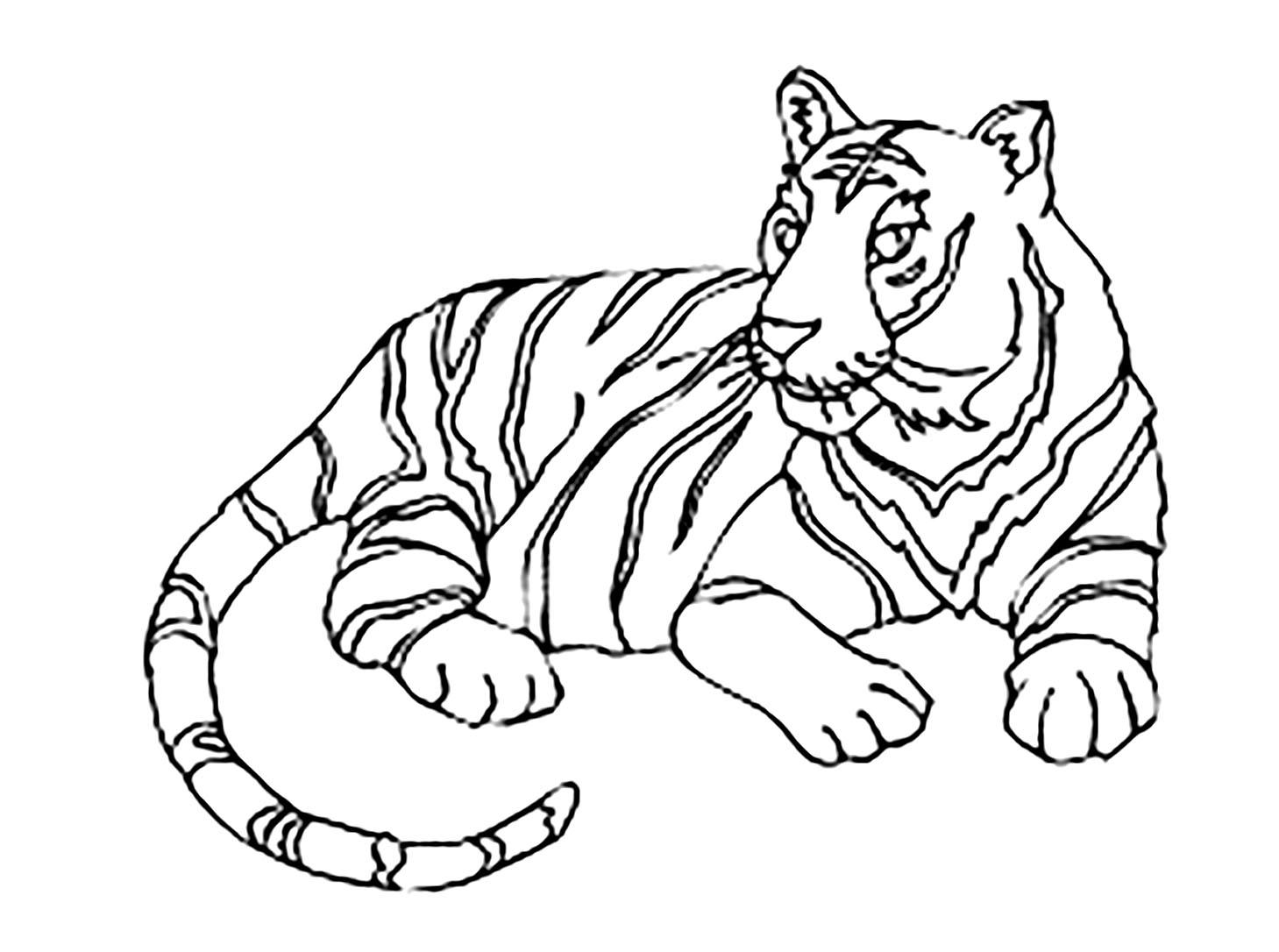 Tranh tô màu con hổ đang nằm rất đẹp