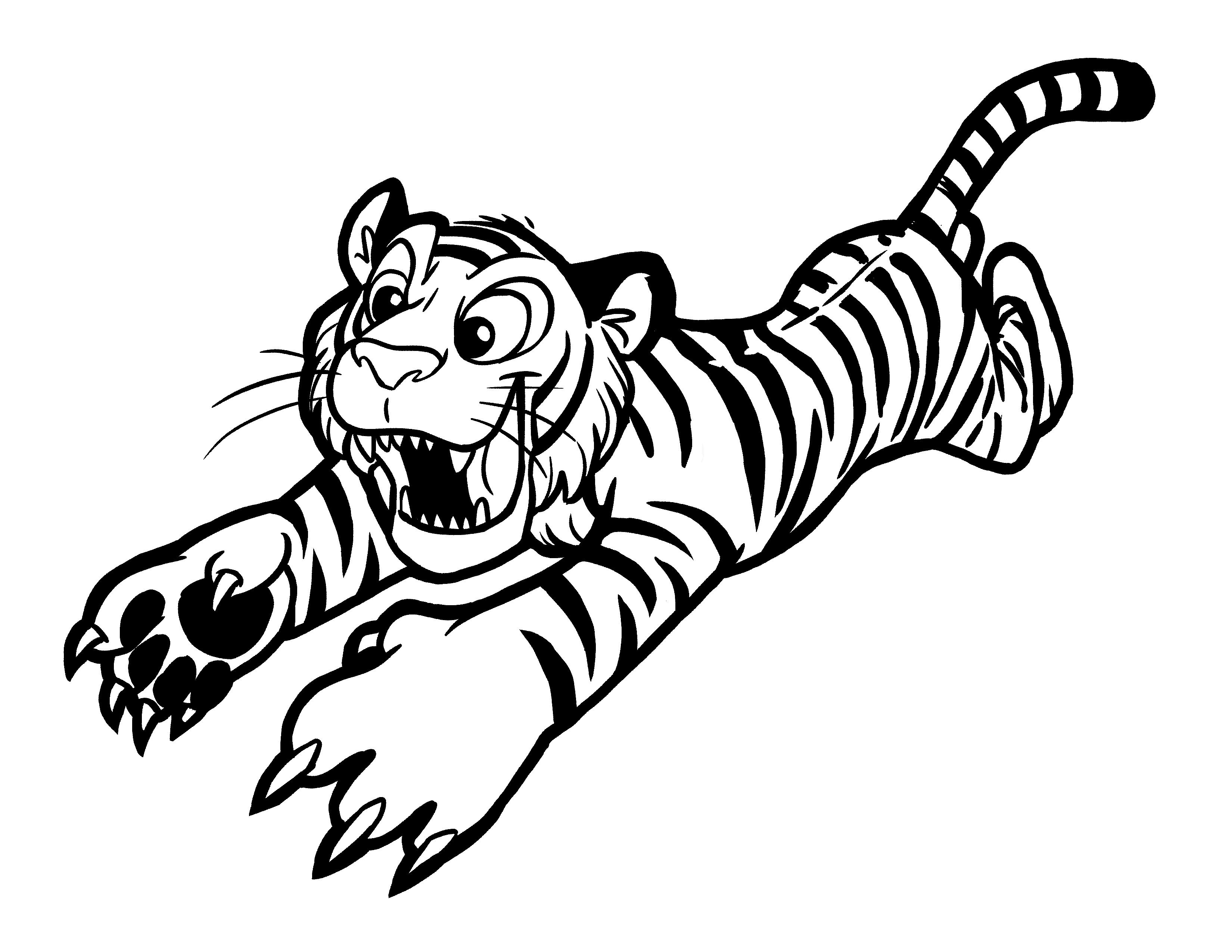 Tranh tô màu con hổ đang vồ tới
