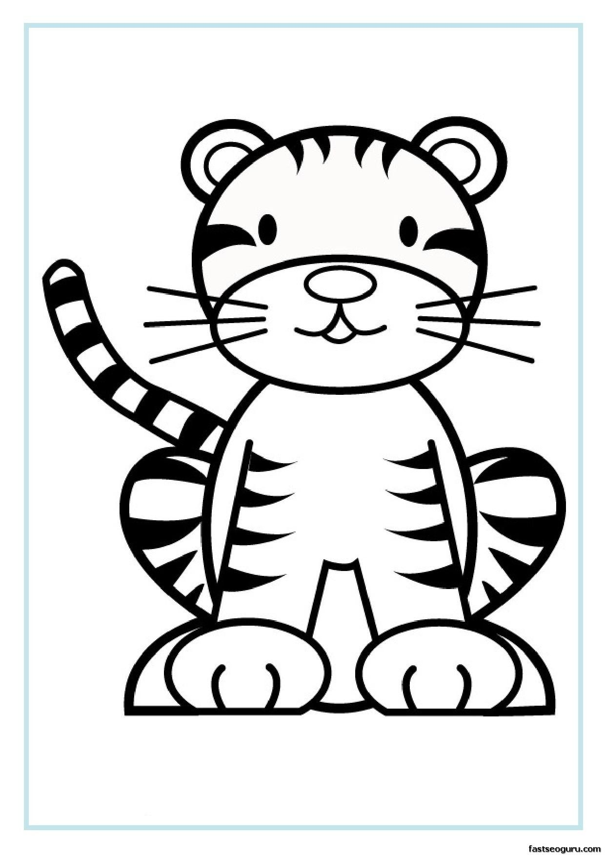 Tranh tô màu con hổ phong cách cartoon