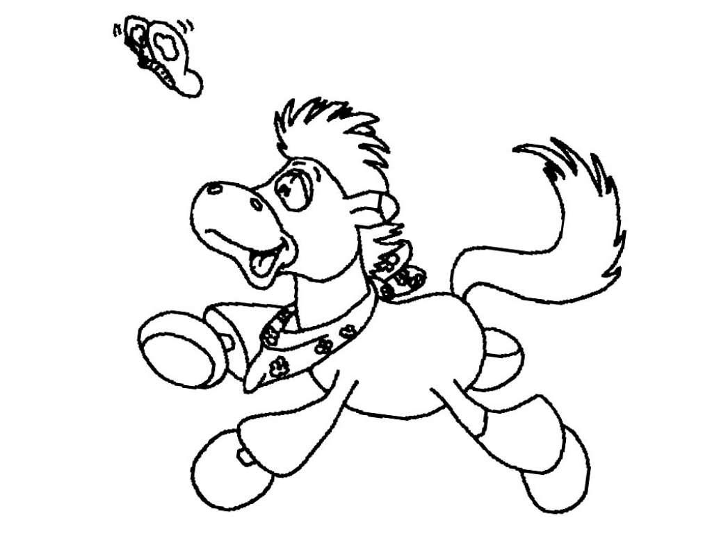 Tranh tô màu con ngựa cartoon